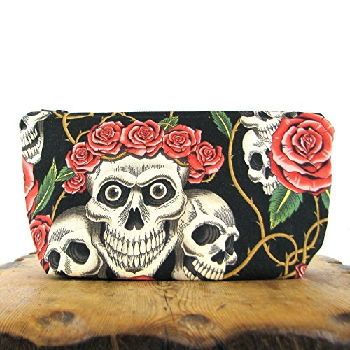 Large Skull and Roses Zippered Pouch