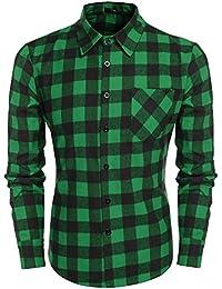 Coofandy Casual Plaid Long Sleeve Shirt Fashion T-shirts