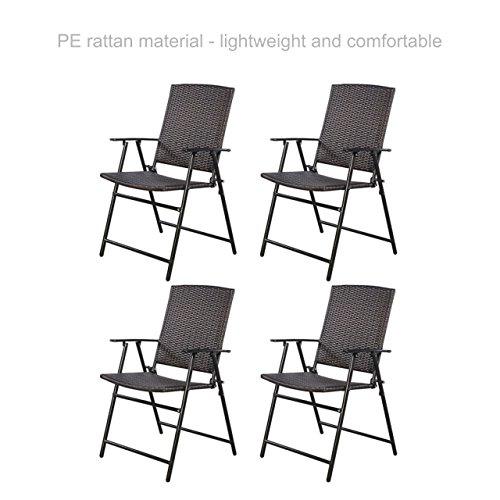 koonlert Shop Folding Chair Wicker Bar Stool Sturdy Steel Frame Durable PE Rattan Material Lightweight Comfortable Indoor Outdoor Furniture - Set of 4 Brown 24.0