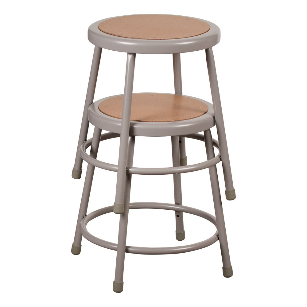 Learniture Steel Lab Stool with Hardboard Seat, 18'' Seat Height, Gray, NOR-TY-538-18-5 (Pack of 5)