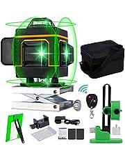 4D Laser Niveau Zelfnivellerende, Professioneel Automatisch 16 Lijnen Groene Beam Cross Laser Level Self Leveling Verticale en Horizontale Lijn met Target Afstandsbediening en 2 Oplaadbare Batterij