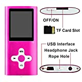 Zilong 1.78 LCD Screen Mp3 Player/Music Player/Mp4 Player with 16GB Micro SD Card , Media Player,Movie/Videos Player, Photo Viewer,E-Book Reader ,Voice Recorder Support Mp3, WMA ,TXT,JPG Files Pink