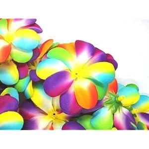 "(12) Rainbow Hawaiian Plumeria Frangipani Silk Flower Heads - 3"" - Artificial Flowers Head Fabric Floral Supplies Wholesale Lot for Wedding Flowers Accessories Make Bridal Hair Clips Headbands Dress 92"