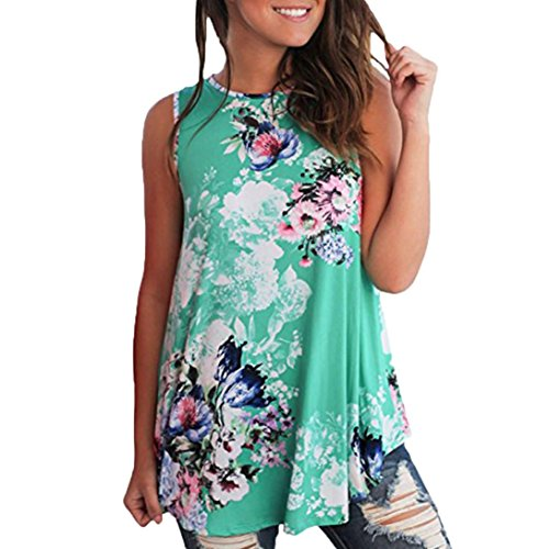 Punk Maternity Clothes - Clearance Sale! Wintialy Women's Casual Floral Printed Sleeveless O-Neck Vest Shirt Tops Blouse