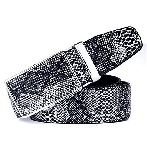 (Nerefy Snakeskin Genuine Leather Belt For Men Automatic Buckle Strap Belts Black)