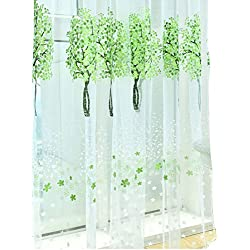 "BROSHAN Voile Room Window Curtain White 78"" x 39"",Pastoral Green Tree Leaves & White Floral Printed Window Voile Panel Drapes Curtains,Spring Summer Green Voile Curtains Window Treatments,1 Panel"