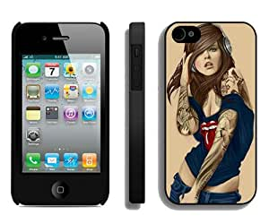 Beautiful And Unique Designed Case For iPhone 4 With Illustrated Tattooed Sexy Rolling Stones Black Phone Case
