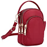 Collsants Nylon Small Crossbody Purse Smartphone Wallet Cell Phone Pouch For Women Girl (Red)