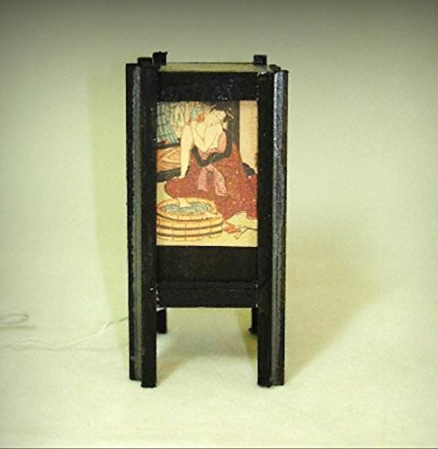 Artisan Dollhouse Lighting Asian Bathing Geisha Shoji Lamp 12v 1:12 Miniatures - My Mini Garden Dollhouse Accessories for Outdoor or House Decor