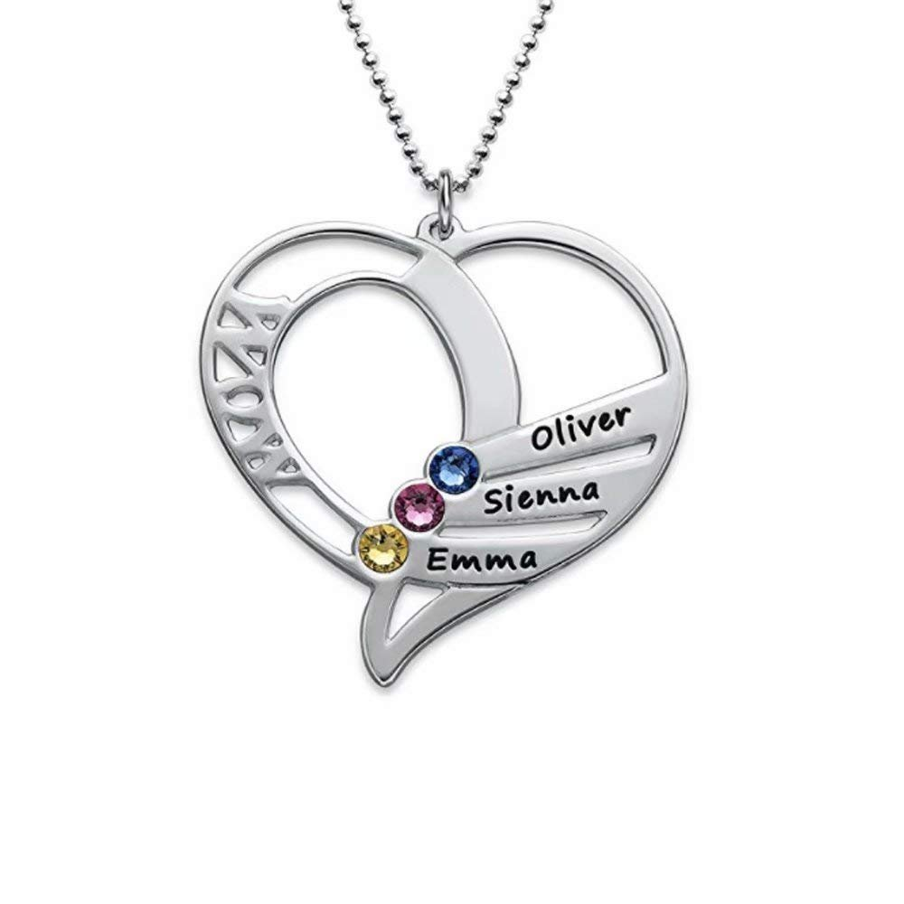 Froshine 925 Sterling Silver Engraved Heart Mother Birthstones Necklace