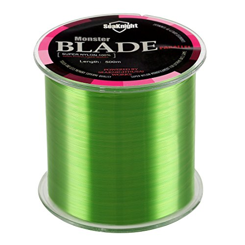 SeaKnight Monster Blade Monofilament Fishing Line 500m/547yds Japan Material Nylon Fishing Line Green 2LB/0.9KG/0.1mm/500 Meters (Test Green Fishing Line)