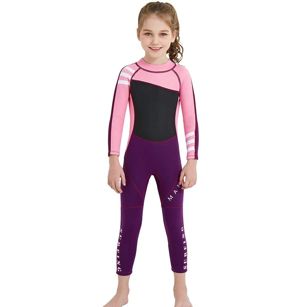Cotrio キッズ 長袖 ウェットスーツ スイムウェア ワンピース UV保護 ダイビングスーツ スイムスーツ UPF 50+ B07PLDQ4MS Girl's Pink 065 Small Small|Girl's Pink 065
