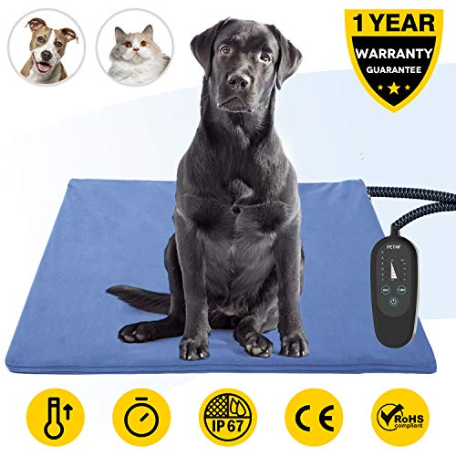 Pet Heating Pad,Dog Electric Heating Pad,29.5''x17.7'' Waterproof Heating Pad for Cats,Heated Mat Bed Safety Heating Indoor Adjustable Warming Mat for Pets with 6.9Ft Length Chew Resistant Steel Cord (Pad Dog Heater House)