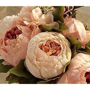 SISJULY Artificial Peony Silk Flowers Bouquet Home Wedding Decoration 2