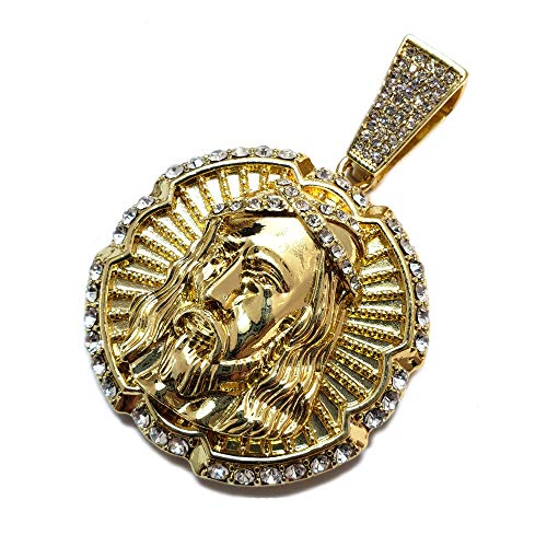 BLINGFACTORY Hip Hop Iced Lab Diamond Gold Plated Large Jesus Face Charm Pendant