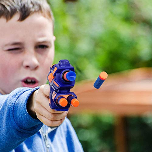 2 Pezzi Pistole Giocattolo, Pistole Blaster con Freccette in Schiuma, Occhiali Protettivi, Cinturini da Polso e Bersaglio, Pistola Giocattolo Regalo di Compleanno di Natale per Bambini di 3-12 Anni
