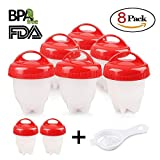 Egg Cooker 8 Pack Egg Poachers Egg Boiler - Hard Boiled Eggs Without The Shell, BPA Free, Non Stick Silicone Egg Cups, AS SEEN ON TV, by MOOKZZ