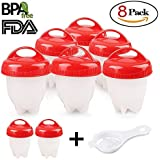 Egg Cooker 6+2 Pack Egg Poachers Egg Boiler - Hard Boiled Eggs without the Shell, BPA Free, Non Stick Silicone Egg Cups, AS SEEN ON TV, by MOOKZZ