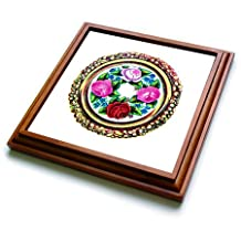 trv_174623_1 Florene - Victorian - image of painted cross stitch embroidery of flowers - Trivets - 8x8 Trivet with 6x6 ceramic tile