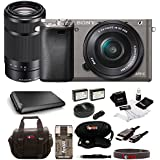 Sony Alpha a6000 Graphite Interchangeable Lens Camera with 16-50mm and 55-210mm Sony E-Mount Lenses Bundle