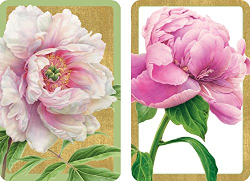 Entertaining with Caspari Double Deck of Bridge Playing Cards, Jumbo Type, Peonies