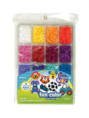 Perler Beads Fun Colors Fuse Beads and Storage Tray For Kids Crafts, 4000 pcs -