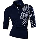 jeansian Men's Slim Fit Long Sleeve Casual POLO Tees Shirts Tops T-Shirts Tshirts U005