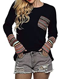 Women's Long Sleeve O-Neck Patchwork Casual Loose T-shirts Blouse Tops with Thumb Holes