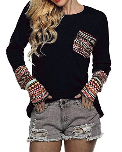 POGTMM Women Long Sleeve O-Neck Patchwork Casual Loose T-Shirt Blouse Tops (S, Black)