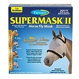 Farnam SuperMask II Shimmer Weave Horse Fly Mask, Arabian size, Silver Mesh wit Black Trim