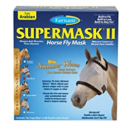 Farnam SuperMask Shimmer Weave Fly Control Mesh for Horses, Arab, Silver Fly Control Mesh with Black Trim