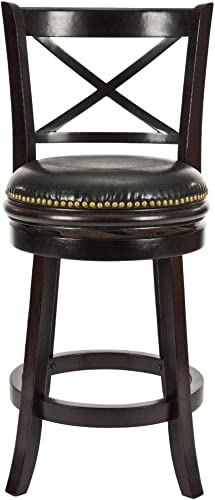 Safavieh Home Collection Butler Cappiccino and Black Leather Swivel 24-inch Counter Stool