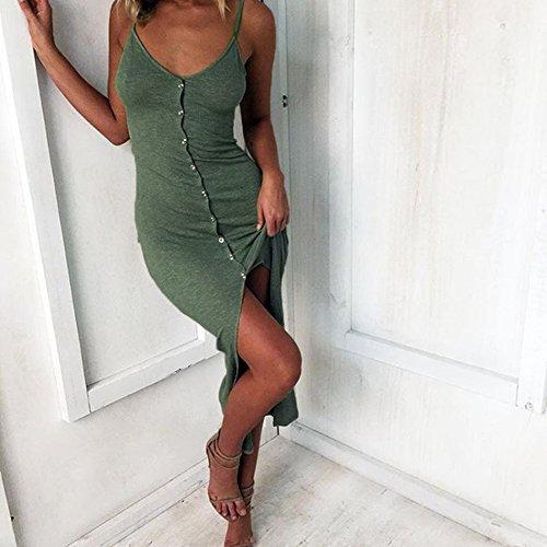 Vestiti Casual Tasca con Eleganti Estivo Donna Regolabili Lungo Sera Vestito Stampato PIN Floreale Abito Verde da LATH Cocktail Spiaggia Spalline xO0Bw6f