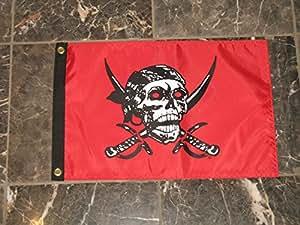 """12x 18piratas Caribe rojo Jolly Roger Solar Max de doble cara bandera de Nylon 12""""x18"""""""