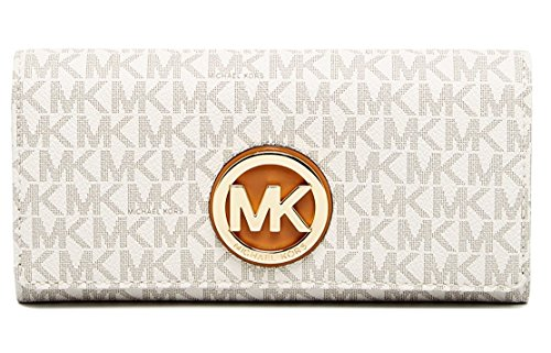 MICHAEL KORS PVC Leather Fulton Flap Continental Wallet, 32S7GFTE3B VANILLA
