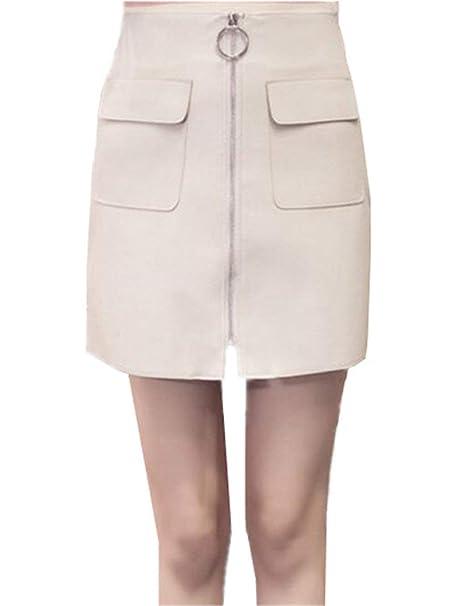 90716c9122 Faldas Mujer Casual Moda De Hipster Clásico Falda Verano Mujer Falda PU  Chicos Falda De Cuero