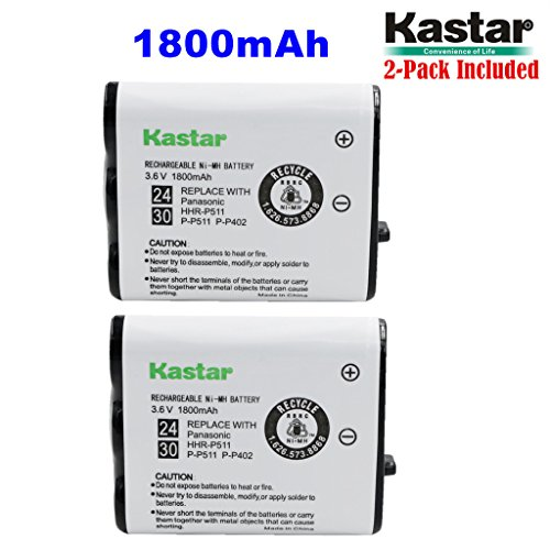 Kastar HHR-P511 / HHR-P402 Battery (2-Pack), Type 24 / 30 NI-MH Rechargeable Cordless Telephone Battery 3.6V 1800mAh, Replacement for Panasonic HHR-P511, HHR-P402, P-P511, P-P511A, HHR-P402A