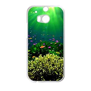 Personalized Creative Cell Phone Case For HTC M8,green light colorful fish fancy sea world view