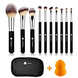 Makeup Brushes,L COSMETIC 10 Piece Makeup Brushes Set Premium Synthetic Bristle Eyeshadow Powder Cosmetic Brushes With Case & 1 Piece Makeup Sponge (Black Silver)