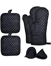 6-Piece Non-Slip Silicone Heat Resistant Oven Mitts with Pot Holders and Mini Silicone Gloves Set, Heavy Duty Cooking Gloves and Trivet Mats for Kitchen, Cooking, BBQ, and Baking
