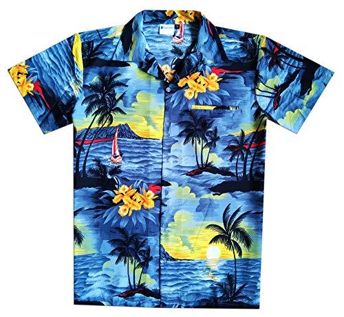 Virgin Crafts Hawaiian Shirt for Men Short Sleeve, Beach, Grey, XS