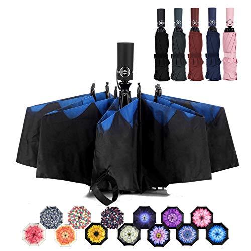 LANBRELLA Umbrella Reverse Travel Umbrellas Windproof Compact Folding - Blue - Day Umbrella