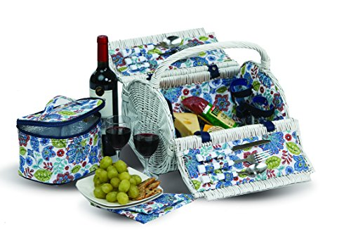 Diner En Blanc Barrel Shape Hand-Woven Wicker 2 Person White Picnic Basket with A Removable Thermal Cooler Section 14 Pieces Included