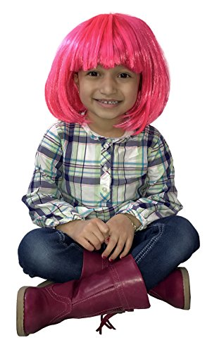 80s Fancy Dress Costumes Cheap (KINREX Pink Wig - Bob Wig - Short & Medium Synthetic Wig - Costume Wig)