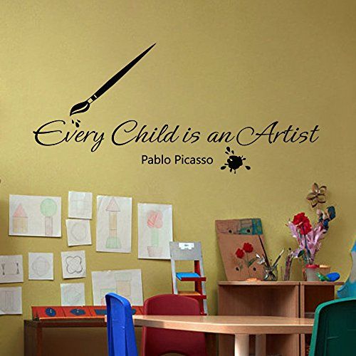 (Playroom Art Display Picasso Every Child is an Artist Nursery Vinyl Wall Decal Display Preschool Kids Room Sticker (Red,m))