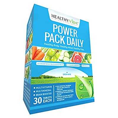 Daily Multivitamin Supplement Power Pack by Healthy VIDA - Excellent Source of Calcium Magnesium Vitamin D & Zinc - With Vitamins A C & E