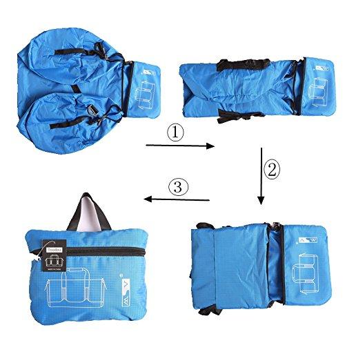 toodou 40L faltbar Sporttasche Barrel mit Schultergurt, Sport Duffel Tasche für Damen und Herren, wasserabweisend Nylon (blau)