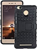M.G.R Hard Armor Hybrid Rubber Bumper Flip Stand Rugged Back Case Cover for Xiaomi Redmi 3s Prime / Redmi 3 Pro / Redmi 3s / Redmi 3x - Black