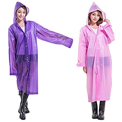 ShoppeWatch Reusable Rain Ponchos for Adults with Drawstring Hood and Full Sleeves 2 PACK Emergency Sport Rain Gear Clear Plastic Raincoat Waterproof Long Free Size Fits All - RP53