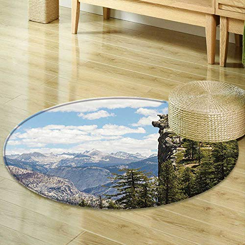 Mikihome Anti-Skid Area Rug Americana Landscape Decor Cliffs in Yosemite National Parks Wall Art Cathedral Peaks Area Green Blue Soft Area Rugs R-35 ()